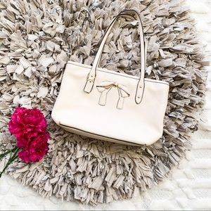 Coach Mini City Zip Tote with Bow in Ivory Leather